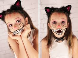 Halloween Makeup For A Cat Cheshire Cat Face Halloween Makeup Holiday Halloween