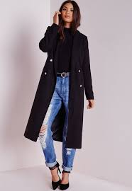 missguided tailored longline military coat black in black lyst