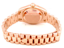 golden ferrari with diamonds 26mm 18k rose gold rolex president datejust watch with mop r n and