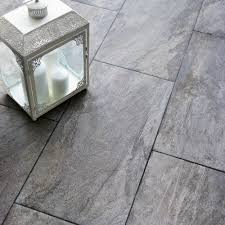 B Q Bathroom Laminate Flooring Indus Dark Grey Stone Effect Porcelain Wall U0026 Floor Tile Pack Of