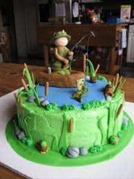 fisherman cake topper fishing birthday cake green blue lake shape with fisherman