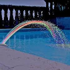 colorfoul pool accessory lights show waterfall above