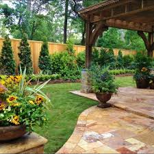 Ideas For Backyard Landscaping Popular Of Backyard Fence Landscaping Ideas Well Planned Backyard
