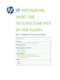 hp thin client smart card support white paper remote desktop