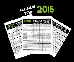 Beast Meal Plan Spreadsheet 2016 Edition Beast Workout Sheets Track Your Beast
