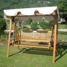 Patio Gliders Exterior Lacquered Oak Wood Lawn Swing Chair With Vertical Slats