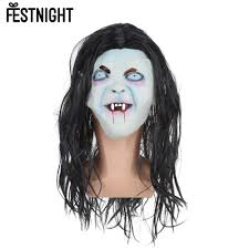 well wreapped festnight scary toothy ghost mask wig with long hair