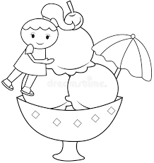 the and the big ice cream coloring page stock illustration