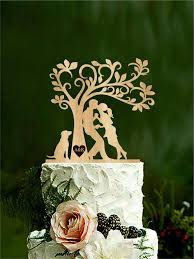 wedding cake topper bride and groom with dog silhouette cake