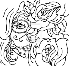 coloring page skull sugar mexican candy gypsy candy skull roses