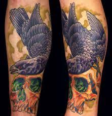 raven and skull tattoo tattoo inspiration worlds best tattoos