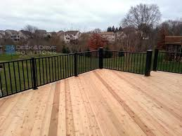 new cedar deck with maintenance free railing des moines deck