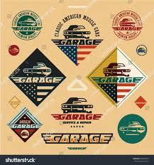 american car logos classic american muscle cars garage vintage stock vector 384852475