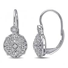 drop diamond earrings vintage style leverback diamond earrings floral 14k white gold 0 15ct