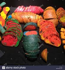 artwork using bread baked with food coloring by the french artist
