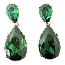 emerald earrings uk signed steve sasco rich pierced emerald rhinestone drop earrings