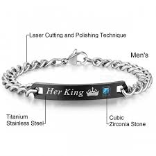 stainless steel bangle charm bracelet images Aziz bekkaoui couple bracelets her king his queen style stainless jpg