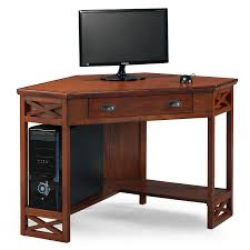 Corner Computer Tower Desk Leick Corner Computer And Writing Desk Oak Finish