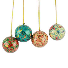india handmade papier mache ornaments set of 4
