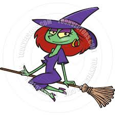 cartoon witch flying on a broomstick by ron leishman toon