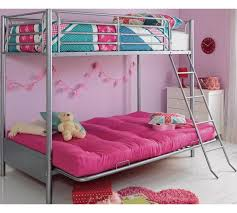 Buy HOME Metal Bunk Bed Frame With Futon Fuchsia At Argoscouk - Futon bunk bed frame