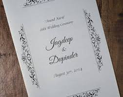 hindu wedding program custom wedding program and or indian wedding invitation suite
