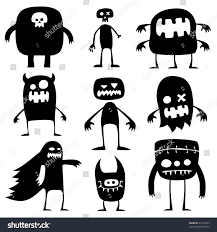 pictures of halloween monsters collection cartoon funny halloween monsters silhouettes stock