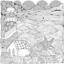 lighthouse and shells seascape coloring book page for stock