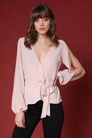 white wrap blouse stella slit sleeve wrap blouse zebra retail