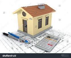 planning home blueprint pencil calculator 3d stock illustration