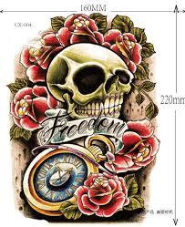 skull 3d temporary tattoo stickers large big arm tattoo stickers