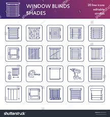 window blinds shades line icons various stock vector 632645594