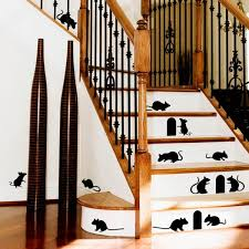 online get cheap wall stickers cat aliexpress com alibaba group removable pvc mouse holes mice cat wall stickers stairs graphic any home room wall staircase