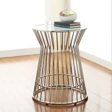 glass top end tables metal fabulous drum accent table inspire q cyril frosted glass top drum
