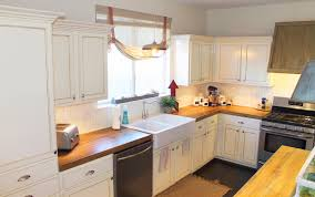 with antique white cabinets glass tile for backsplash ideas