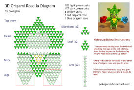 3d origami beginner tutorial 3d origami instructions 3d origami roselia diagram pokegami on