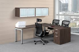 L Shaped Modern Desk by Modern L Shaped Desk With Glass Door Wall Mount Hutch