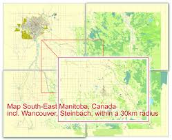 Winnipeg Map Winnipeg Steinbach Canada Printable Vector Street City Plan 5