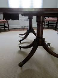 Chippendale Dining Room Chairs Update 1930 U0027s Mahogany Double Pedestal Dining Table And 8