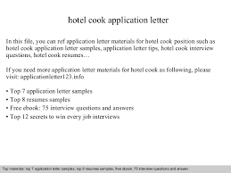 Sample Resume For Cook Position by Hotel Cook Application Letter