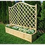 wooden garden flower planter with trellis for climbing plant