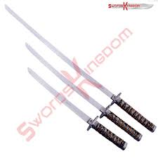 symbol 3 blue samurai swords set