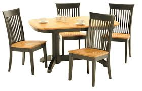 Pedestal Tables And Chairs American Amish Split Rock Five Piece Dining Set With Double