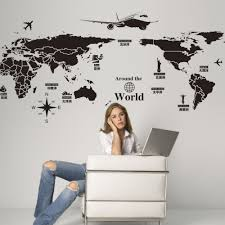 online get cheap removable wall decals aliexpress alibaba group new creative world travel map wall stickers black printed sticker bedroom home decor poster diy removable