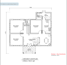 3 Bhk Single Floor House Plan by Kerala Style Single Floor House Plan 1155 Sq Ft In Ground Home