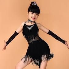 aliexpress com buy kids salsa dresses sequin latin dance dress