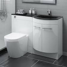 Fitted Bathroom Furniture White Gloss 1200mm Gloss White Combined Vanity Unit Black Glass Basin