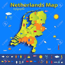 netherlands map netherlands map infographic political map blue green