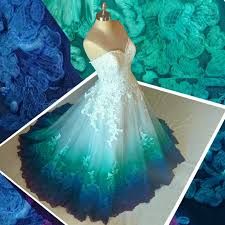 teal tulle a line sweetheart sweep ombre tulle wedding dress with