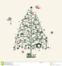christmas tree sketch stock illustration image of ornament 22371104